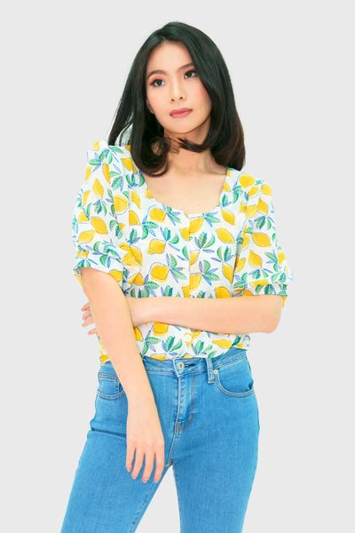 Lemon three fourths chiffon top