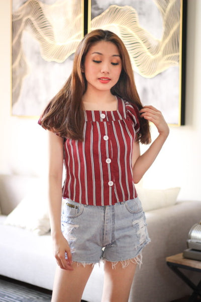 Maroon pinstripes sleeveless with white button