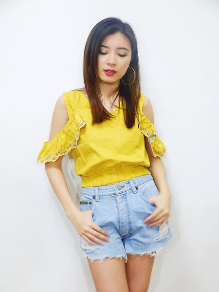 mustard eyelet embroidered crop top