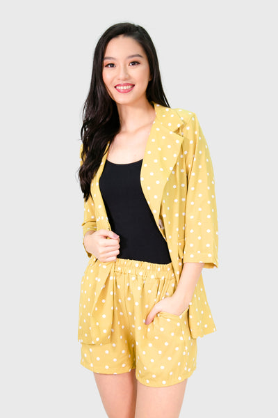 Yellow polka dot blazer and shorts