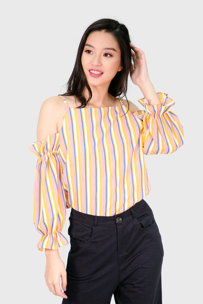 Yellow eyelet summer stripes