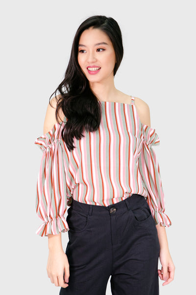 Pink eyelet summer stripes