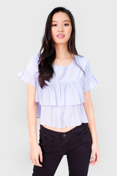 Blue ruffles tee top