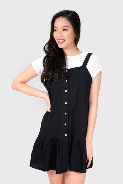 White shirt with black linen dress