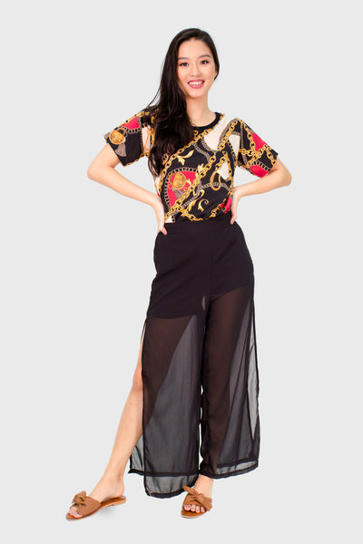 Black chiffon pants with slit