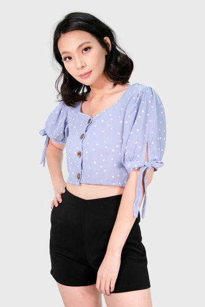 Blue hearts button down with ribbon sleeve top