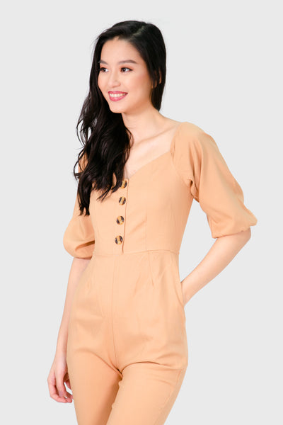 Brown button down with garter sleeve jumpsuit