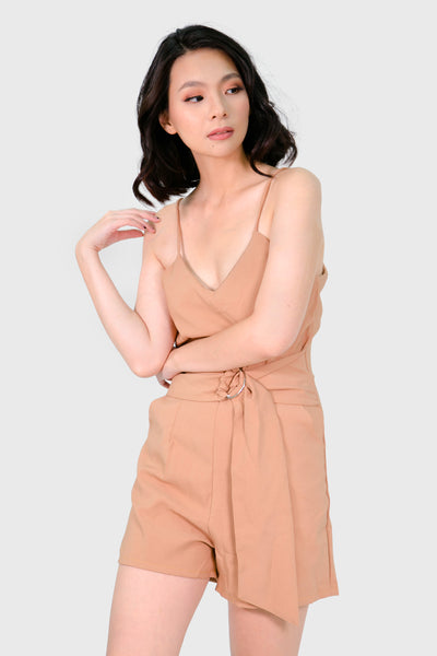 Brown romper with low back and belt