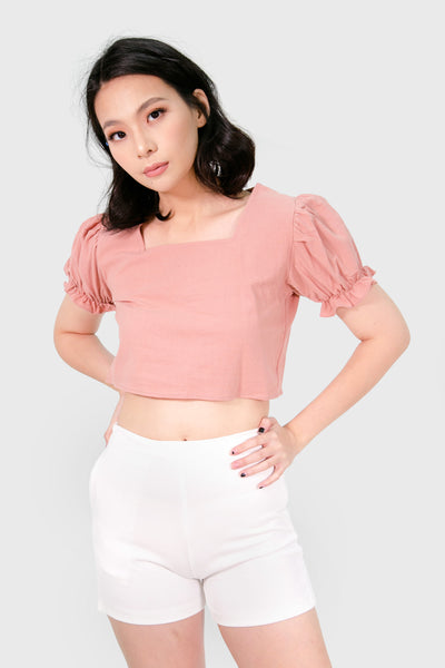 Pink brown square neck top