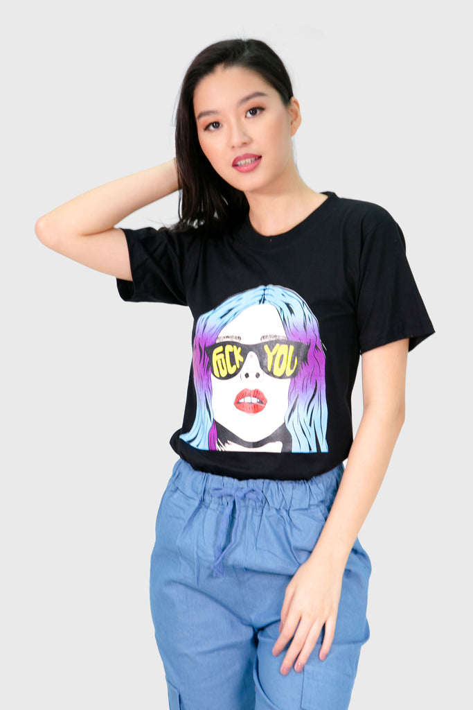 Black F you shades shirt