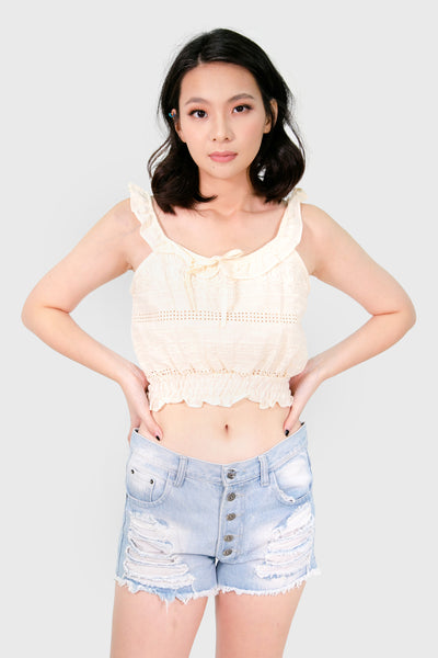 Cream swiss gartered top
