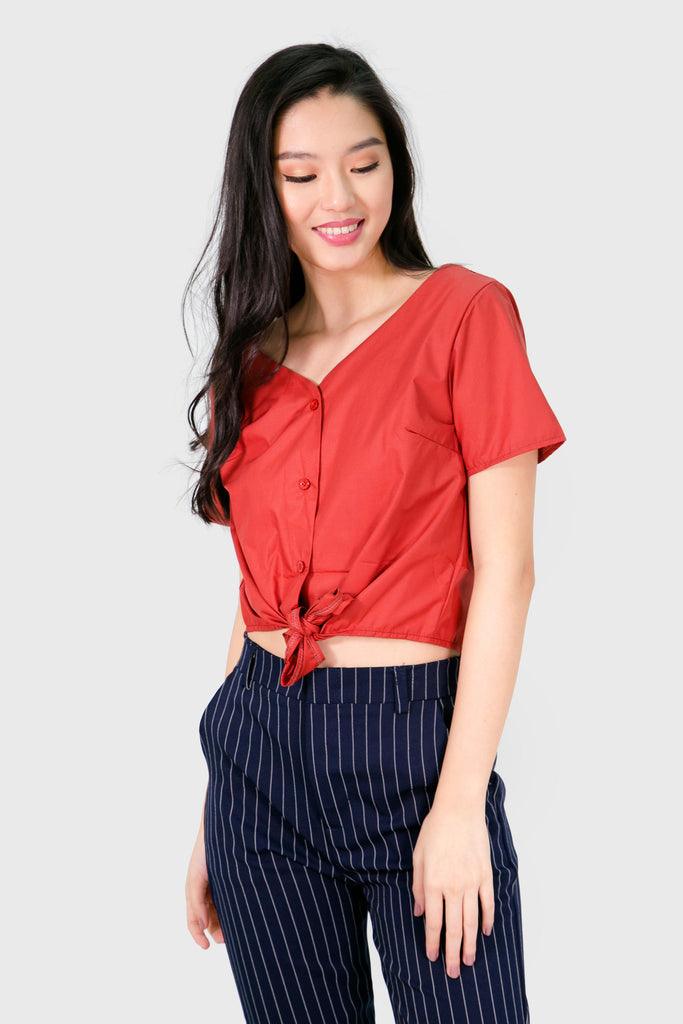 Coral button down v neck with front ribbon