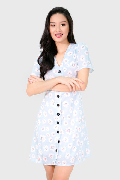 Powder blue sunflower button down dress