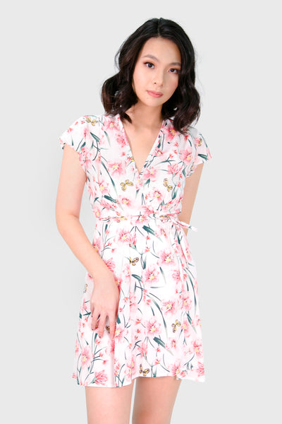 White pink sakura wrap dress