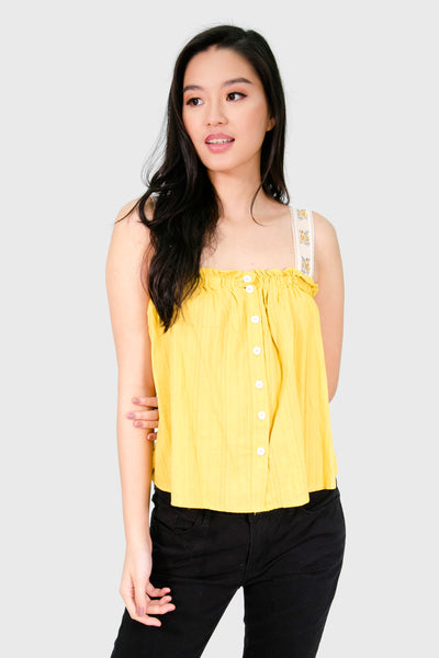Mustard spag with boho strap top