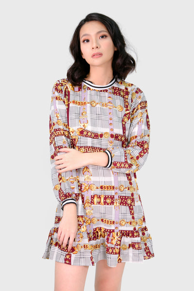 Maroon  tartan and chain longsleeves dress