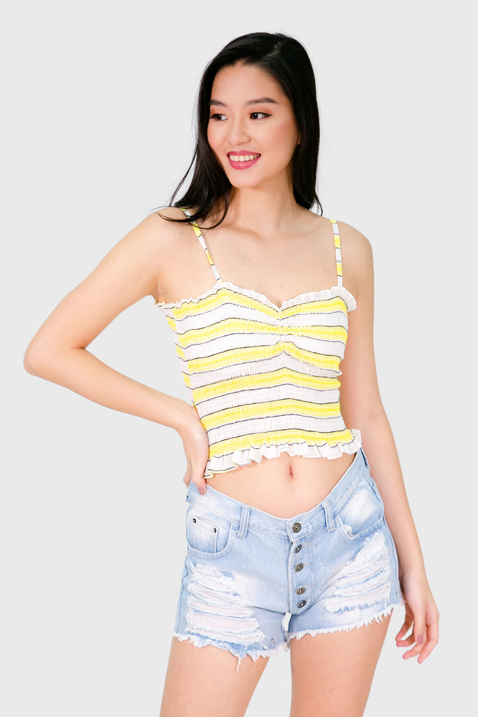 Yellow stripes padded spag garter top