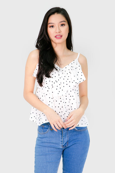 White polka dot ruffles spag top