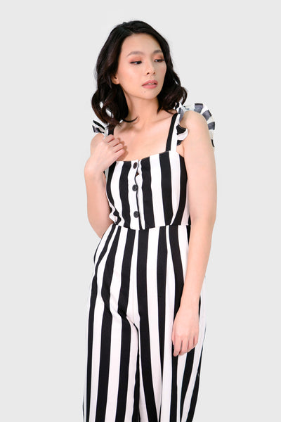 Black stripes ruffles strap with button jumpsuit