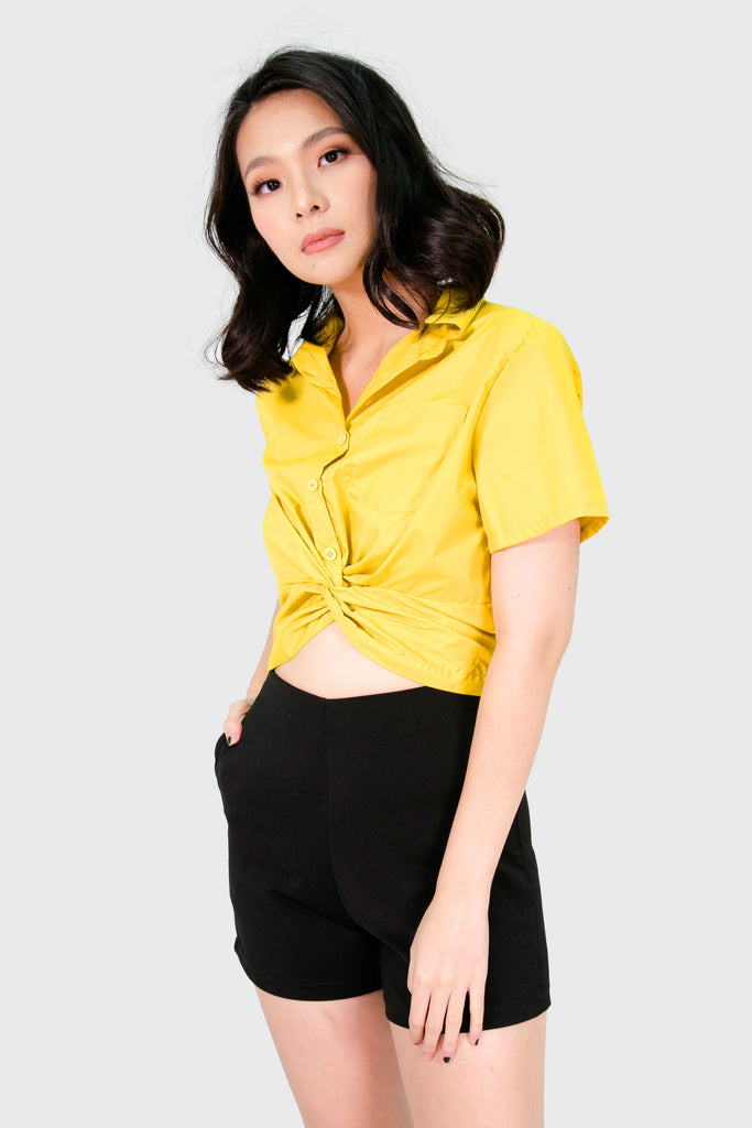 Mustard button down infinity hem