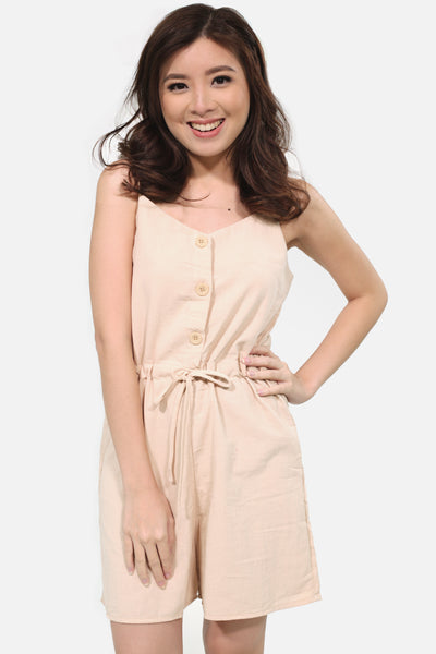 Cream  spag linen romper with button accent