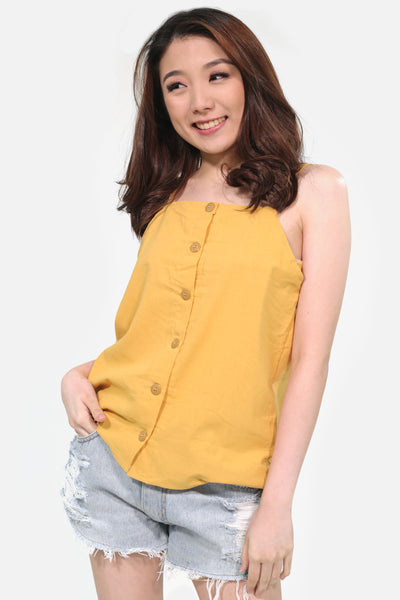Mustard halter spag button down