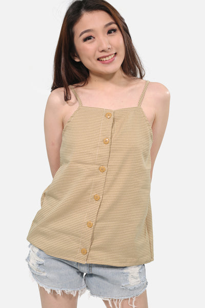 Beige halter spag button down
