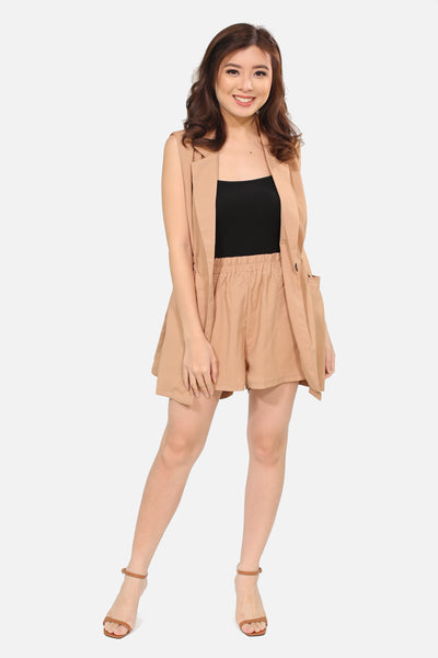 Brown luxe sleeveless vest and shorts