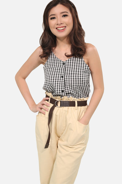Black luxe fabric gingham spag button down top