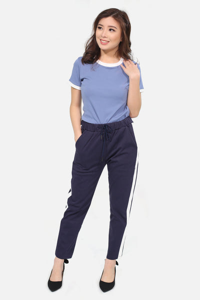 Navy blue trousers with white strip
