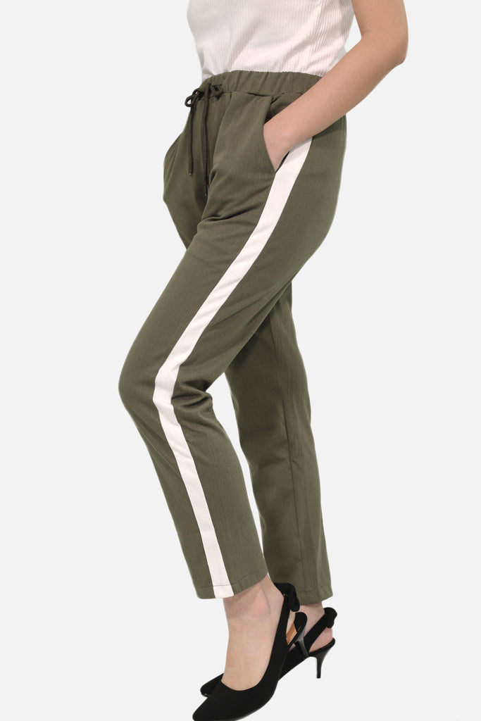 Military green trousers with white strip