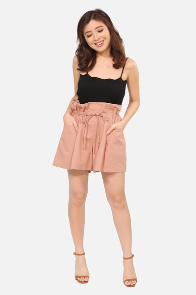 Brown pink puffy shorts