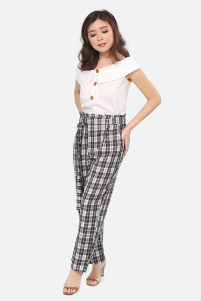 Black tartan square pants with belt