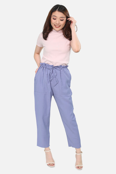 Blue pull linen trousers with pocket