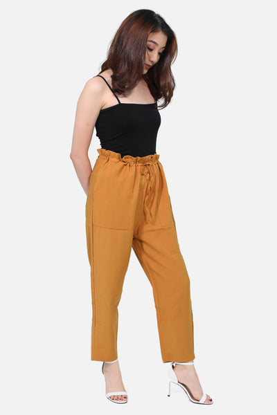Brown pull linen trousers with pocket