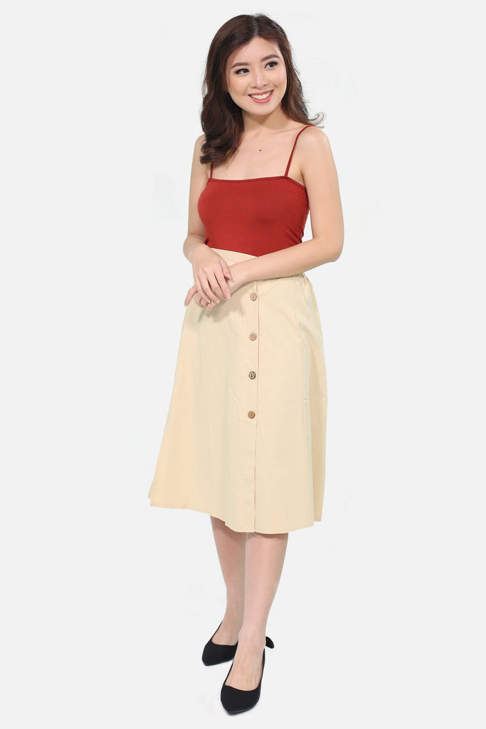 Cream sided button down skirt