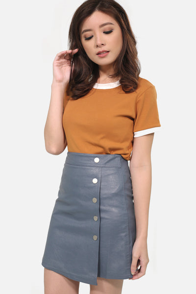 Grey leather button down skirt