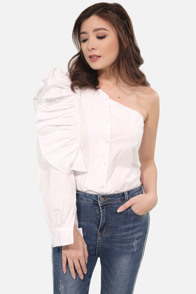 White sided off shoulder ruffles