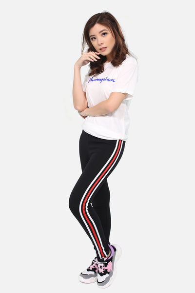 Black leggings with red white red