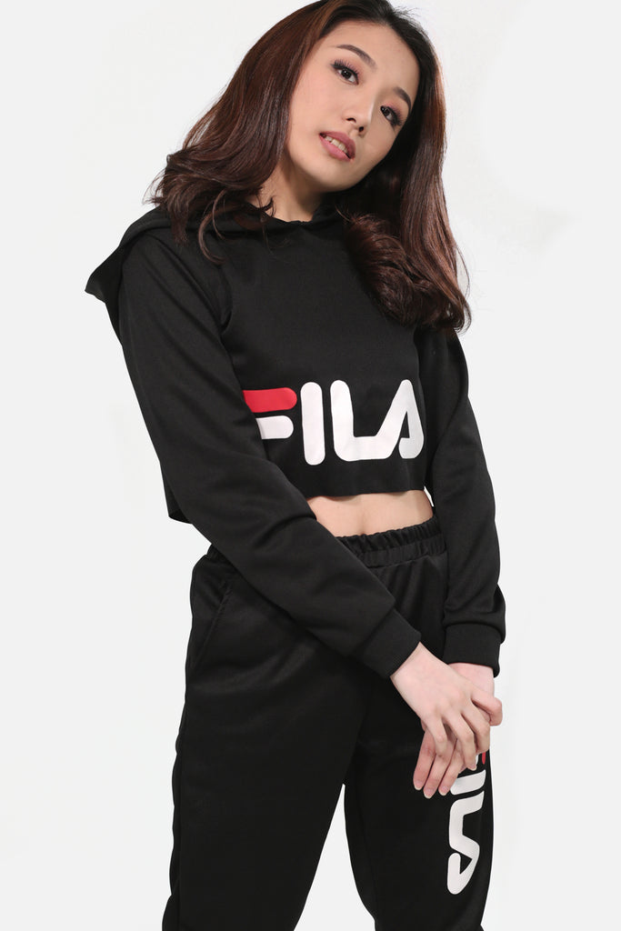 Black fila hoodie crop top and fila track pants
