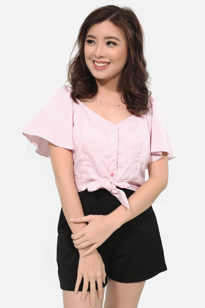 Pink pinstripes off shoulder with ribbon