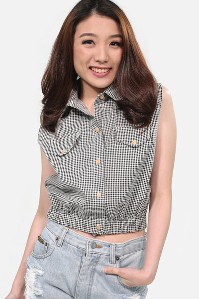 Black gingham button down collar with garter hem