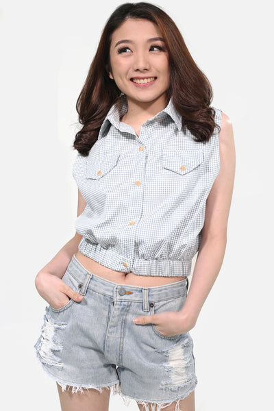 Dusty blue gingham button down collar with garter hem