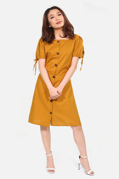 Brown catcha button down with ribbon sleeves skater dress