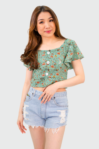 Teal Floral Flowy Sleeves Button Down