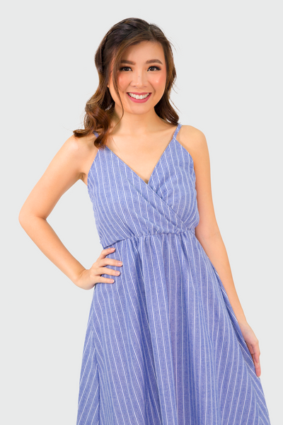 Blue And White Stripes Button Down Dress