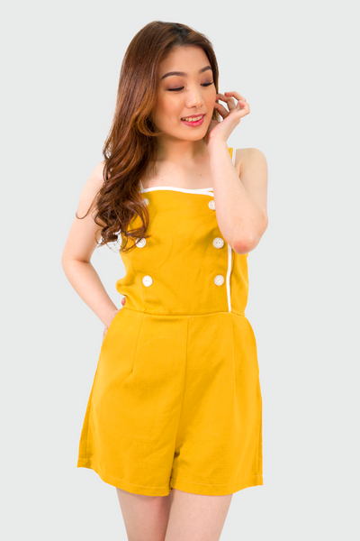 Yellow Padded Buttons Romper