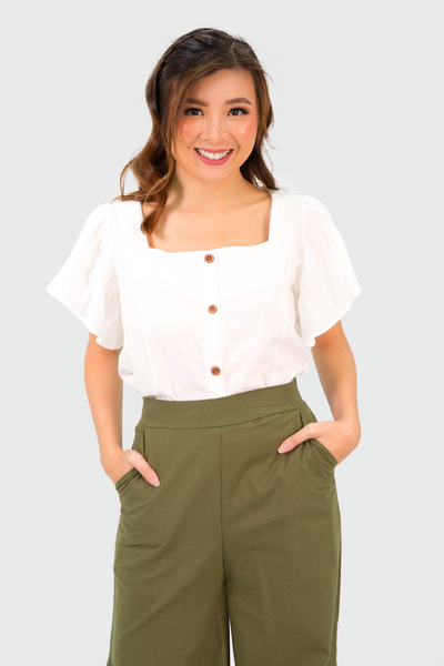 White Square Neck Button Down Ruffles Sleeves