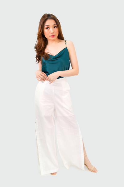 White Linen Pants with Side Slit Button Down