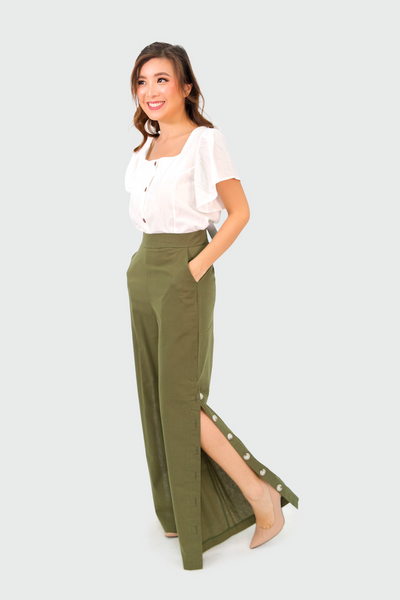 Green Linen Pants with Side Slit Button Down